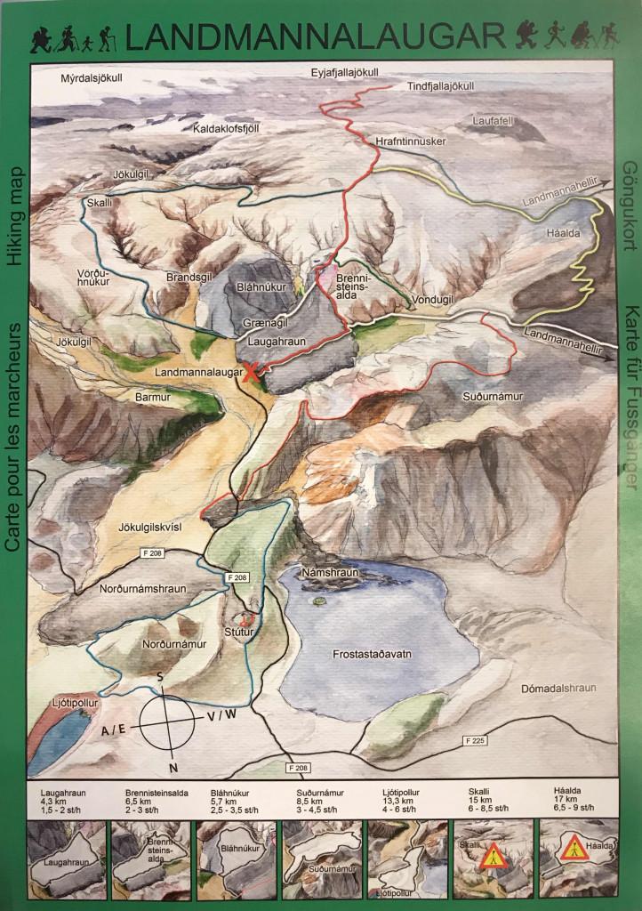 mapa landmannalaugar
